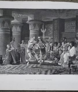 Antique Engraving Print, Pastime in Ancient Egypt, 1870