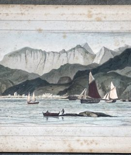 Antique Engraving Print, View of Cuniag from Loch Inver, 1820
