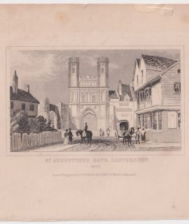 Antique Engraving print, St. Augustine's Gate Canterbury, Kent, 1840
