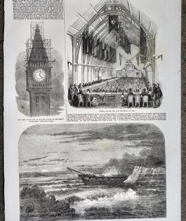 Antique Print, Clock-Dial; Isle of Wight; Hull Corn Exchange, 1856