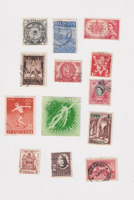 Lot of 13 Vintage Postage Stamps