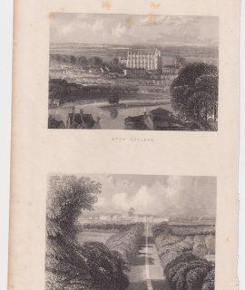 Antique Engraving Print, Eton College; The Long Walk, 1851