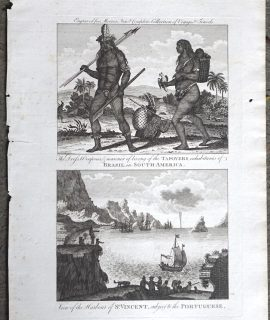 Antique Engraving Print, Tapoyers inhabitans of Brasil ; St. Vincent, 1789 ca.