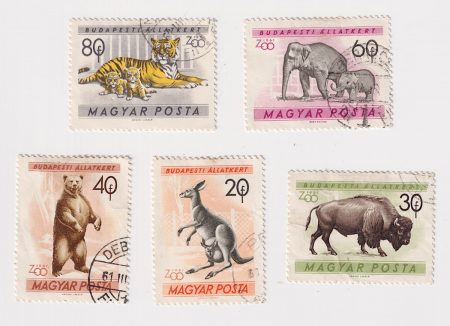 Lot of 5 Vintage Hungary Postage stamps, zoo series, 1961 Magyar Posta