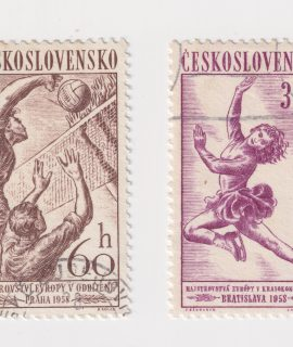 Moscow, Russia - A stamp printed in Czechoslovakia shows Girl Skater, Sports 1958 series