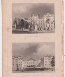 Antique Engraving Print, Middlesex Hospital; The Foundling Hospital, 1851