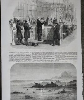 Antique Print, Wreck of The Amelia; House of Lords, 1856