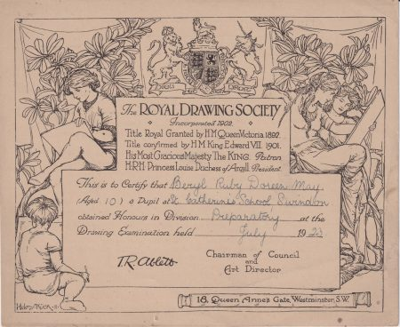 The Royal Drawing Society, Certificate, 1923