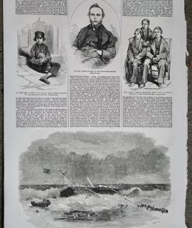 Antique Print, Portraits, Wreck of the Polyphemus, 1856