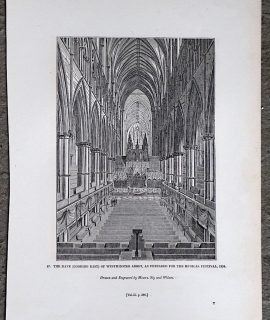 Antique Print, The Nave of Westminster Abbey, as prepared for the musical festival, 1834