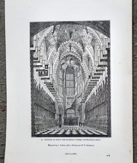 Antique print, Interior of Henry the Seventh's Chapel, Westminster Abbey, 1840 ca.