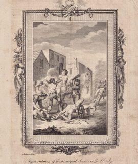 Antique Engraving Print, Irish Massacre in 1642, 1770 ca.