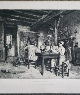 Antique Engraving Print, Supper Time, 1914