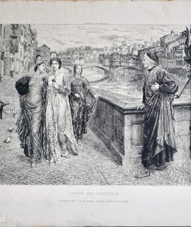 Antique Engraving Print, Dante and Beatrice, Charles Oliver Murray, 1914