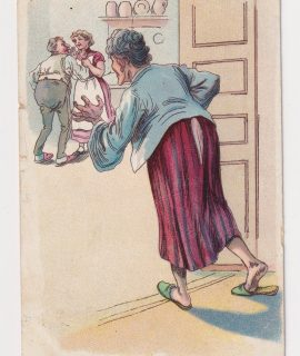 Vintage Postcard, Mother caught father so did the broom, 1909