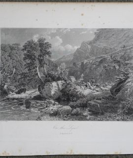 Antique Engraving Print, On the Lynn, 1876