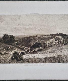 Antique Engraving Print, A Surrey Landscape, Clough Bromley, 1914