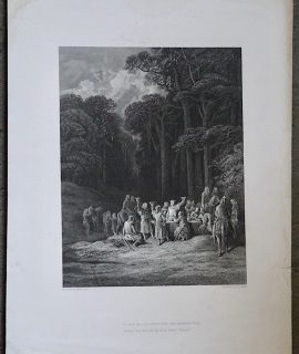 Antique Engraving Print, Table round, 1868