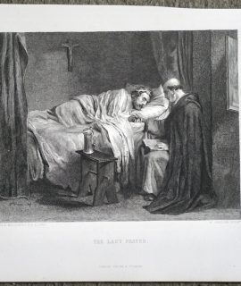 Antique Engraving Print, The Last Prayer, 1870