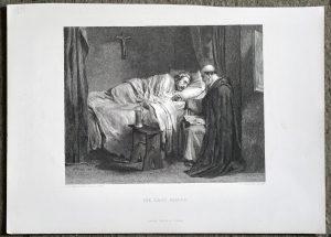 Antique Engraving Print, The Last Prayer, 1870