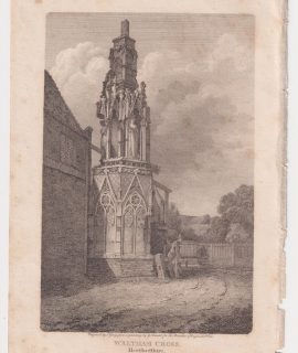 Antique Engraving Print, Waltham Cross, 1803