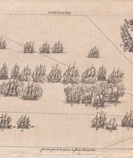 Antique Engraving Print, English & French Fleets, 1756