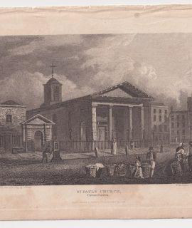 Antique Engraving Print, St. Paul Church, 1816