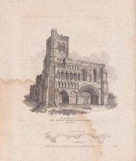 Antique Engraving Print, Priory Church, Dunstaple, 1805