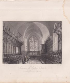 Antique Engraving Print, Interior of Gatton Church, 1845