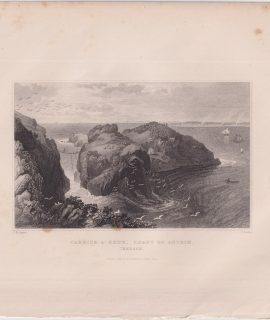Antique Engraving Print, Carrick-A-Rede, Ireland, 1830