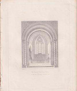 Antique Engraving Print, The Chancel in Peper-Bara Church, 1850