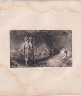 Antique Engraving Print, The Robber's Death-bed, 1830 ca.