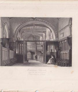 Antique Engraving Print, Mickleam Church, 1840 ca.