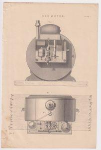 Antique Print, Gas Meter, 1870