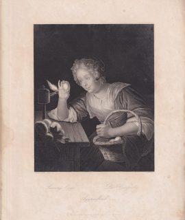 Rare Antique Engraving Print, Proving Eggs, 1840