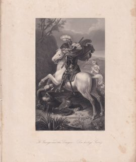 Antique Engraving Print, St. George and the Dragon, 1840 ca.