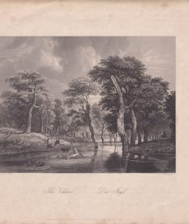 Antique Engraving Print, The Chase, 1840 ca.