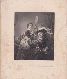Antique Engraving Print, Rembrandt and his Wife, 1840 ca.