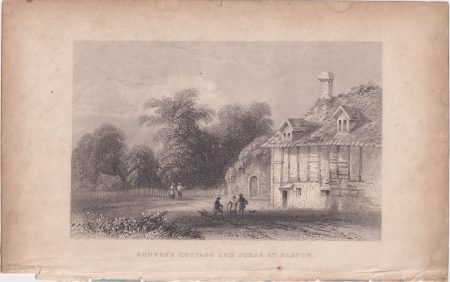 Antique Engraving Print, Bunyan's Cottage and Forge at Elstow, 1845