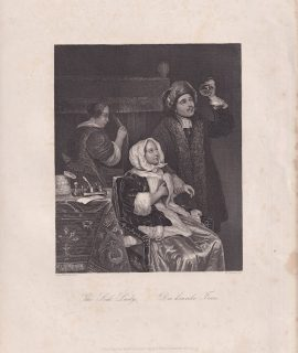 Antique Engraving Print, The Sick Lady, 1845 ca.