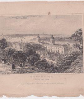 Antique Engraving Print, Greenwich, 1829