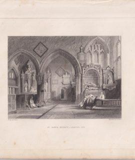 Antique Engraving Print, St. Mary's, Reigate Chancel End, 1841