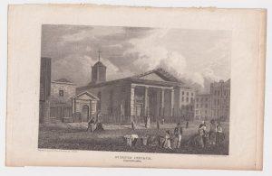 Antique Engraving Print, St. Paul Church, Covent Garden, 1816