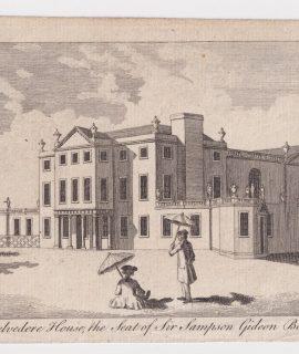 Antique Engraving Print Belvedere House, 1770