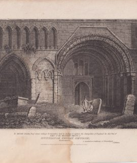 Antique Engraving Print, Dunstaple Priory Church, 1805