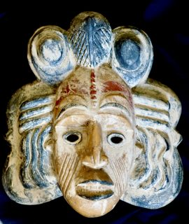 Vintage Rare Handcarved Wooden Mask (Mexico-Guatemala)