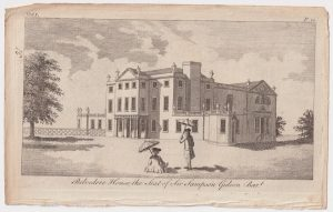 Antique Engraving Print, Belvedere House, the Seat of Sir Sampson, 1770