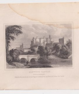 Antique Engraving Print, Alnwick Castle, 1845