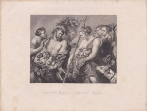 Antique Engraving Print, Satyrs and Nymphs, 1850