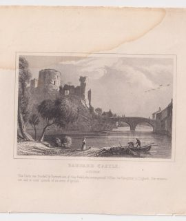 Antique Engraving Print, Barnard Castle, 1845